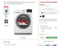 AEG T6DBG822N condensing Tumble Dryer Brand new £300, 2 year warranty