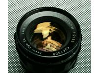 Pentax Ashai 55 mm f/2 M42 screw.