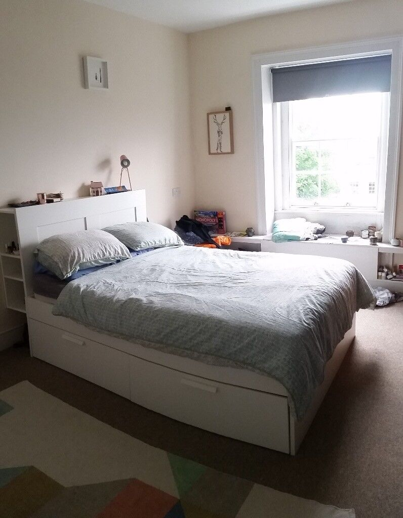 Double Bed Frame Ikea Brimnes And Mattress With Headboard And