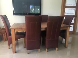Solid oak table & genuine leather chairs