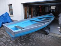 17ft Fishing Boat with Oars & Trailer