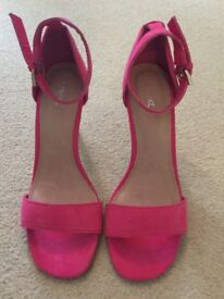 Next pink faux suede heels size 5 brand new