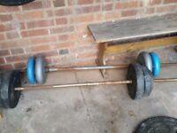 i haven 2 long bars with weights, dumbells , bench and boxing bag with bracket for sale ,