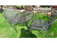 Metal outside table with 2 metal chairs