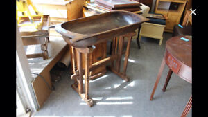 Huge Antique Dough Bowl on a Stand $165
