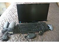 computer keyboard, monitor, speakers