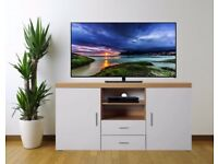 High Gloss White on Oak TV Stand Cabinet Sideboard Cupboard **Free Delivery**