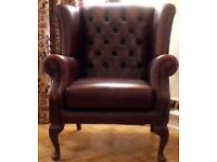 Stunning oxblood leather chesterfield wingback armchair