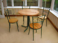 NEWLY REFURBISHED – FRENCH CHIC -PINE & METAL WORK -TABLE & 4 CHAIRS (CAN DELIVER)