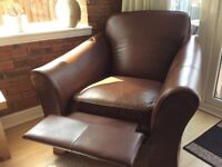 Marks and Spencer Abbey brown leather recliner armchair.
