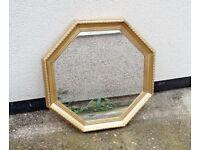 Lovely Octagonal Mirror Gold Gilded Frame Medium Large