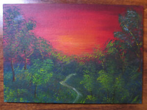 "7""x5"" Forest Path Sunset Original Oil Painting"