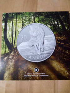 2013 $20 Wolf - Pure Silver Coin