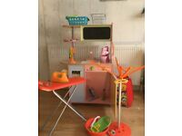 Toy Wooden Kitchen with accessories inc (food, pans, plates iron/board & washing line)