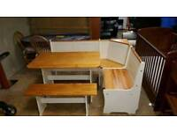 Cream and pine wood table+chairs