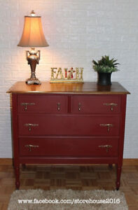 Refinished Red Antique Dresser
