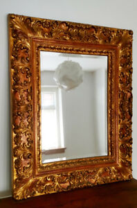 Made in Italy hand painted gold leaf mirror.