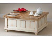Oak / solid mango shabby chic storage trunk / coffee table