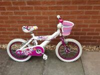 Huffy style 12 inch bicycle white with basket and bell