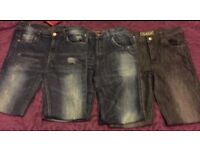 Bundle of 3 pairs of kids jeans age 12 - 13 years for boys or girls with 2 blue & 1 black pair