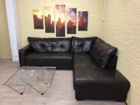Long Dark Brown Leather Corner Sofa
