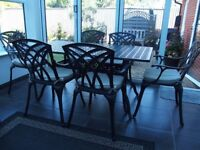 Cast Aluminium Garden Furniture Six Seat Table & Chairs