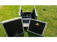 Mixer amp rack flight case on casters