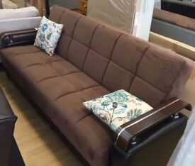 *7-DAYS MONEY BACK GUARANTEE* TURKISH 3 SEATER FABRIC STORAGE SOFA BED WITH LEATHER WOODEN ARM RESTS
