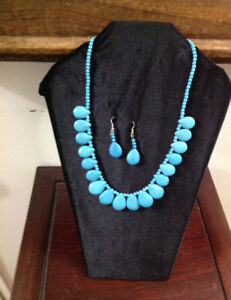 GENUINE BLUE HOWLITE NECKLACE AND EARRINGS (20 inches)