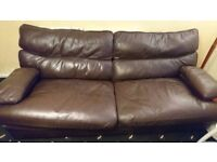 Genuine leather Gplan 3 seater sofa + 1 seat + Pouf Chocolate brown