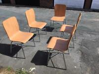 Chrome and wood vintage style chairs x5
