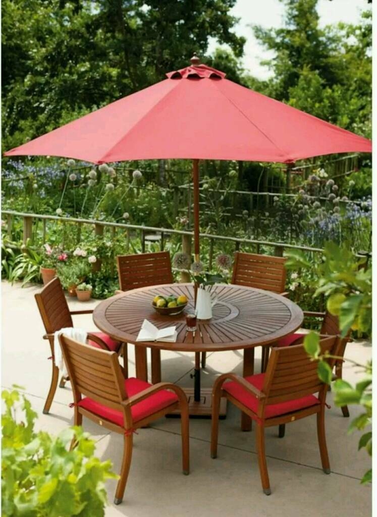 new rrp 59999 homebase almeria 6 seater round wooden garden furniture set boxed and - Garden Furniture 6 Seater Round