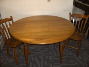 "NEW PRICE - - MAPLE 48"" DROP-LEAF TABLE with 4 ARROW-BACK CHAIRS"