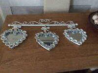 Wrought iron heart mirror