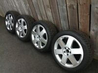 "Audi VW Seat Refurbished Ronal 17"" 5x100 Diamond Cut Alloys & New Uniroyal Rainsport Tyres"