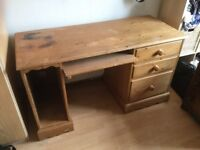 Solid pine desk with three drawers