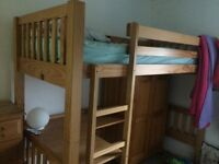 Kids pine bunk bed with desk and wardrobe in great condition