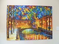 Contemporary Art City Painting on Canvas - Excellent Condition