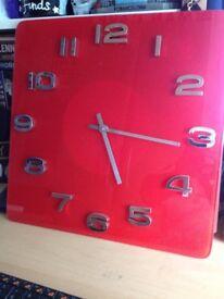 Red and Silver Trim Ceramic Clock