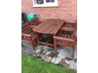 Wooden garden patio set table with 4 chairs