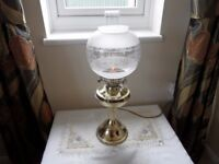 VINTAGE BRASS ELECTRIC OIL LAMP EXCELLENT CONDITION