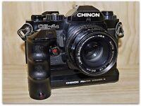 Vintage CHINON SLR Camera, Various Zoom Lens, Flash, Aluminum Case/Accessories