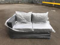 Brand new grey rattan two seater sofa with 3 stools. Fully assembled