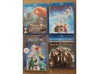 Disney Blurays Frozen, Brave, Snow White & Frozen New sing along DVD