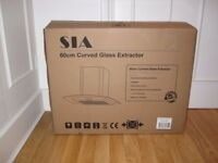 New SIA 60cm Curved Glass Cooker Hood / Extractor