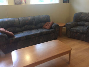 Sofa, chair and three wood tables