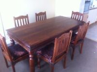 **Solid Oak Studded Dining Table and 6 Chairs** £400 o.n.o