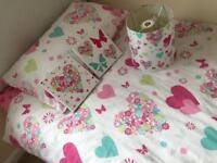 Girls single duvet and matching items