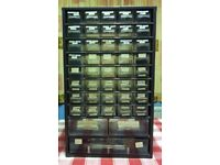 43 MIXED DRAWER METAL CABINET with SOME DIVIDERS