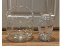 2 beautiful matching pieces of quality expensive Duishe irish handcut glass from kilkenny gift shop